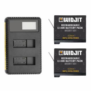 Incarcator Widjit dual cu ecran LCD + 2 baterii GoPro 5 / 6 / 7