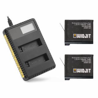 Incarcator Widjit dual cu indicator solar + 2 baterii GoPro 4