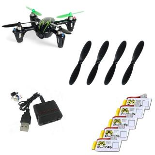 Pachet Drona HUBSAN x4 H107C + 5 acumulatori + incarcator + set elice